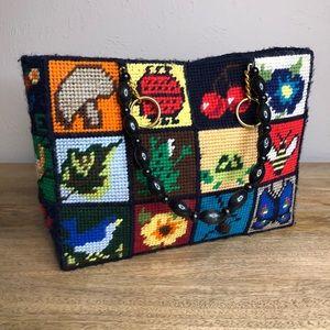 Vintage colorful cross stitch purse